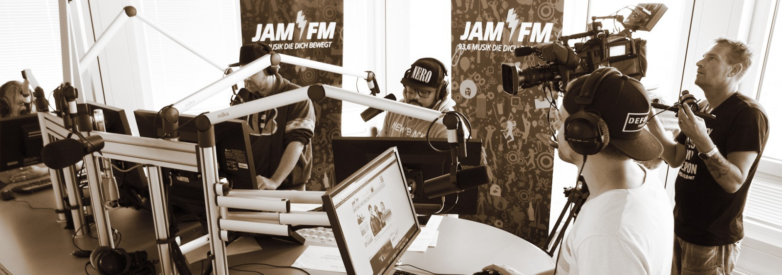 Shooting at the radio studio of Jam FM Berlin